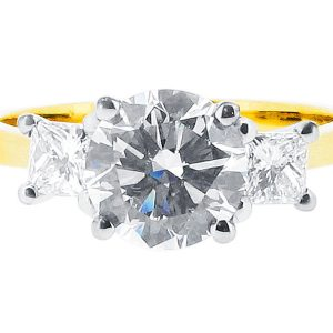 Round and Princess Trilogy Engagement Ring