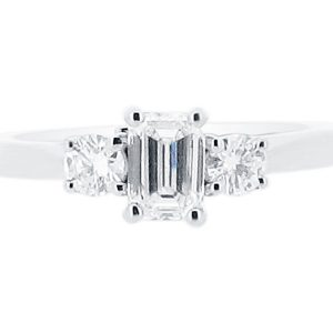 Emerald Cut with Round Side Stones Engagement Ring