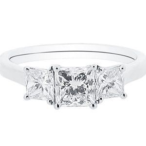 Asscher Cut Ring Trilogy Engagement Ring