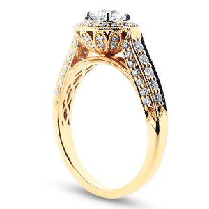 Round Diamond Set in Antique Halo Style Engagement Ring - ER 1248