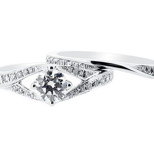 Split Shoulder Solitaire Engagement Ring with Matching Wedding Ring - ER 1392