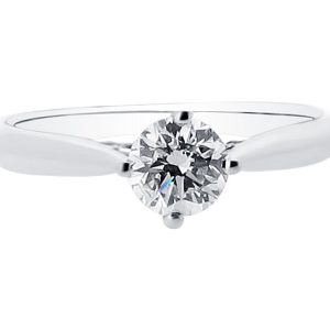 Round Brilliant Solitaire in Compass Setting Engagement Ring