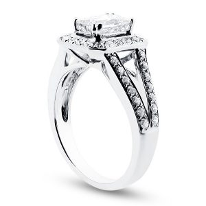 Prince Cut Halo with Split Shoulders Engagement Ring
