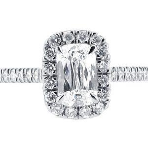 Ashoka Diamond with Scallop Set Shoulders Engagement Ring