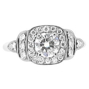 Round Halo Antique Style Engagement Ring