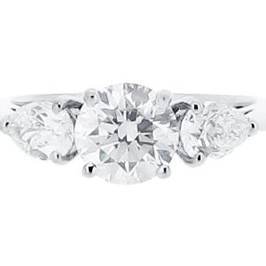 Round and Pear Three Stone Diamond Engagement Ring