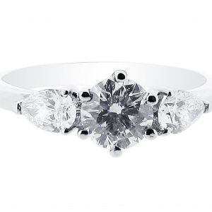 Round Brilliant 6 Claw Centre 3 Stone with 2 Side Pears Engagement Ring