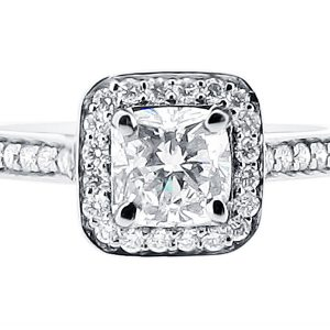Cushion Cut Halo with Pave Shoulders Engagement Ring