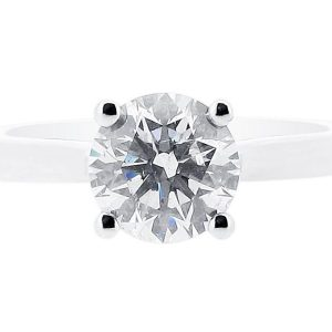 Round Solitaire with Crossover Setting and Pave Shoulders Engagement Ring