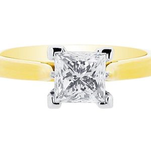 Princess Solitaire Set on Yellow Gold Band Engagement Ring - ER 1019