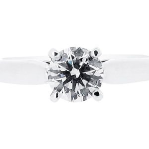 Classic Four Claw Solitaire with Tapered Shoulders Engagement Ring