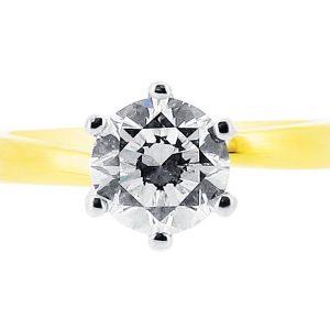 er 1101 yellow round solitaire 6 claw twist plain diamond ring