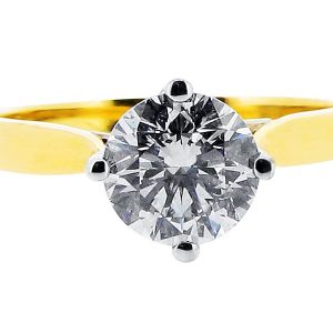 Yellow and White Gold Compass Setting Engagement Ring
