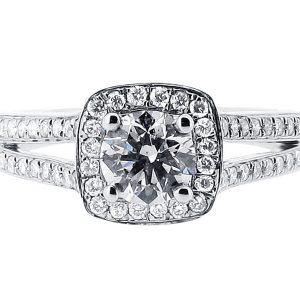 Bespoke Halo Split Shoulder Engagement Ring ER 1393