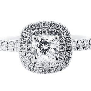 Cushion Double Halo Engagement Ring with Matching Wedding Ring - ER 1513