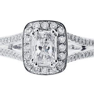 Radiant Halo with Split Shoulders Engagement Ring