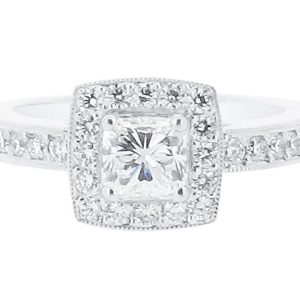 Round Halo With Pave Scroll Engagement Ring