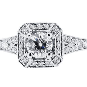 Round Brilliant Antique Style Split Shoulder Pave Halo Engagement Ring