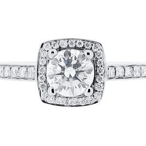 Round Brilliant With Pave Set Halo And Shoulders Engagement Ring