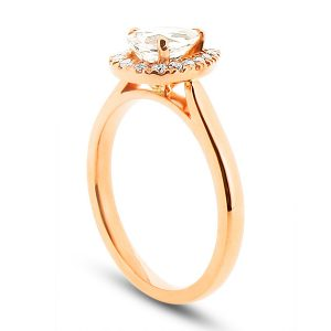 Pear Peach Sapphire Rose Gold Halo Engagement Ring with Scallop Set Diamonds