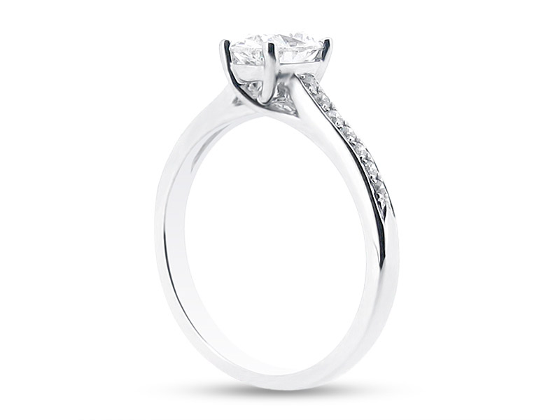 Oval Solitaire in Crossover Setting and Pave Set Shoulders