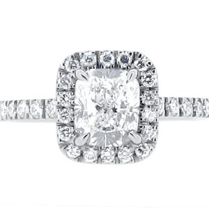 Harry Winston 'The One' Style Cushion Cut Scallop Set Halo Engagement Ring ER 1997