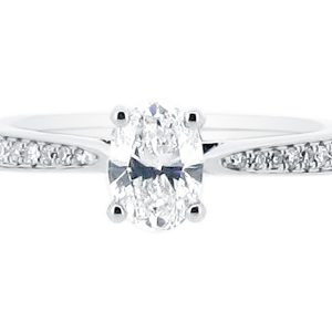 Oval Cut Diamond Solitaire with Tapered Pave Set Shoulders