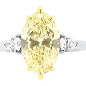 Three Stone Six Claw Yellow Marquise Cut Diamond with Diamond Pear Sides