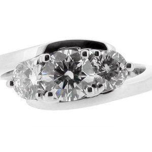Three Stone Round Brilliant Crossover Engagement Ring